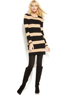 INC International Concepts Faux-Leather-Trim Striped Sweater Dress