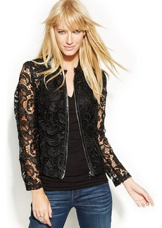 INC International Concepts Petite Faux-Leather-Trimmed Lace Moto Jacket