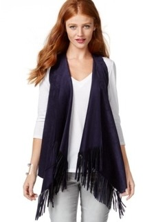 Inc International Concepts Faux-Suede Fringed Vest, Only at Macy's