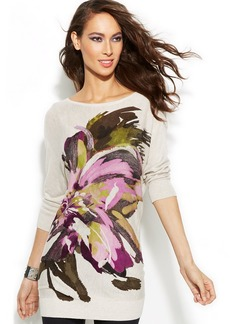 INC International Concepts Floral Intarsia Tunic Sweater