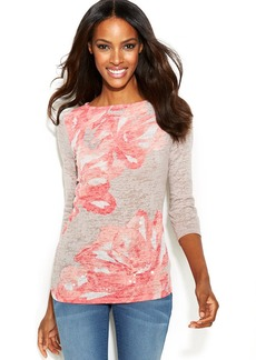 INC International Concepts Floral-Print Boat-Neck Top