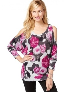 Inc International Concepts Floral-Print Cold-Shoulder Sweater, Only at Macy's