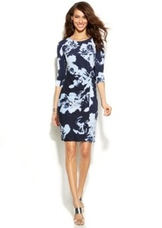 INC International Concepts Petite Printed Twist-Front Dress