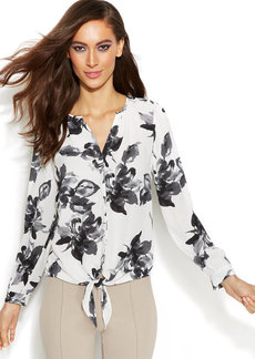 INC International Concepts Floral-Print Tie-Front Shirt
