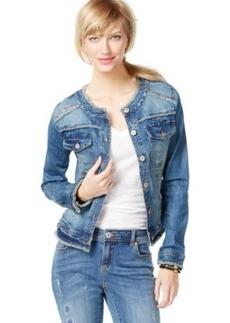 Inc International Concepts Frayed Denim Jacket, Mid-Indigo Wash, Only at Macy's