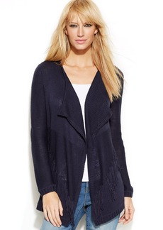 INC International Concepts Fringed Open-Front Cardigan
