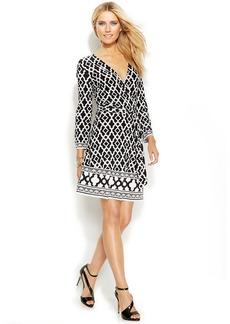 INC International Concepts Geo-Print Faux-Wrap Dress