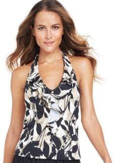 Inc International Concepts Halter Ruffle-Front Tankini Top Women's Swimsuit