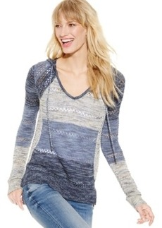 Inc International Concepts Hooded Mixed-Stitch Sweater