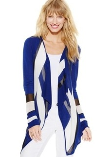 Inc International Concepts Illusion Draped Colorblock Cardigan