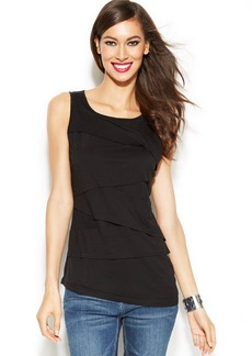 INC International Concepts Illusion-Inset Tiered Sleeveless Top