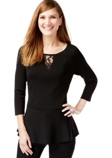 Inc International Concepts Illusion-Lace Peplum Sweater, Only at Macy's