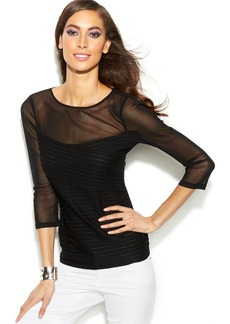 INC International Concepts Illusion Pintucked Top