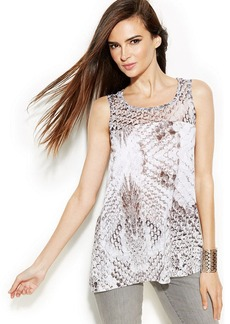 INC International Concepts Illusion Printed Sleeveless Top