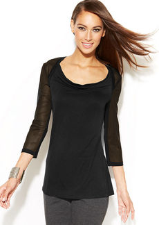 INC International Concepts Illusion-Sleeve Drape-Neck Top