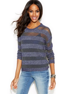 INC International Concepts Illusion-Striped Long-Sleeve Sweater