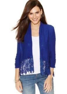 Inc International Concepts Lace-Hem Cropped Cardigan