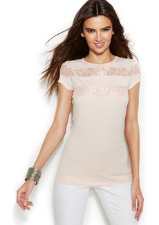INC International Concepts Lace-Inset Short-Sleeve Tee