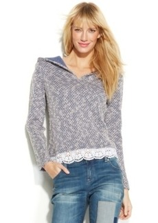 INC International Concepts Lace-Trim Hooded Sweater