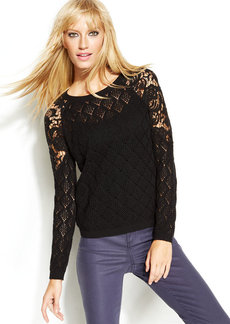 INC International Concepts Lace-Trim Pointelle Sweater