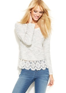 INC International Concepts Lace-Trim Sweater