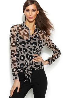 INC International Concepts Leopard-Print Tie-Front Blouse