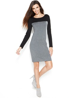 INC International Concepts Long-Sleeve Colorblock Sweater Dress
