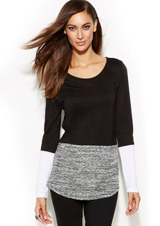 INC International Concepts Petite Long-Sleeve Colorblock Top