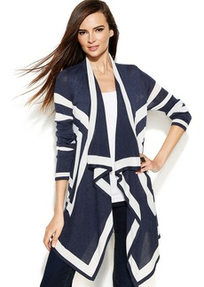 INC International Concepts Long-Sleeve Draped Colorblock Cardigan