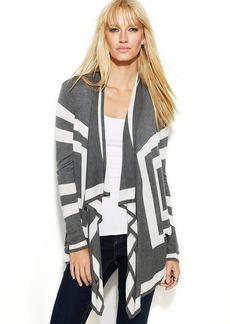INC International Concepts Petite Long-Sleeve Draped Colorblock Cardigan