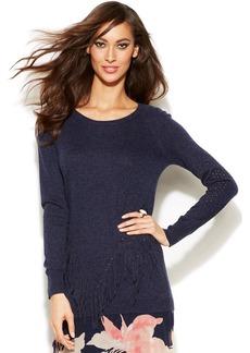INC International Concepts Long-Sleeve Fringed Sweater