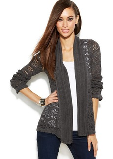 INC International Concepts Petite Long-Sleeve Pointelle Cardigan Sweater