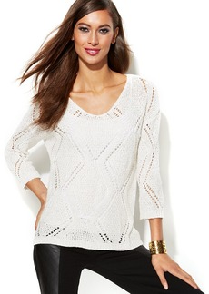 INC International Concepts Long-Sleeve Pointelle Sweater