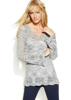 INC International Concepts Petite Long-Sleeve Pointelle Sweater