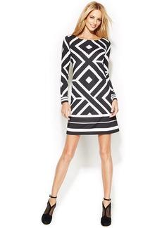 INC International Concepts Long-Sleeve Printed Shift Dress