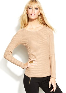 INC International Concepts Long-Sleeve Ribbed-Knit Sweater