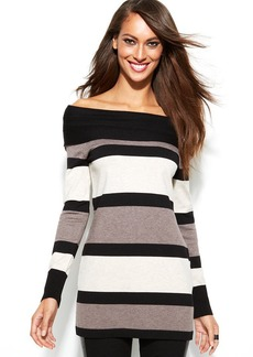 INC International Concepts Long-Sleeve Striped Tunic Sweater