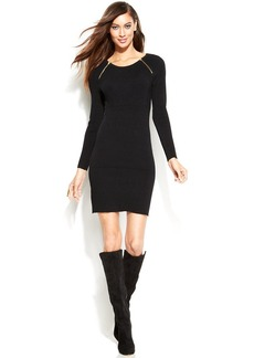 INC International Concepts Long-Sleeve Zippered Sweater Dress