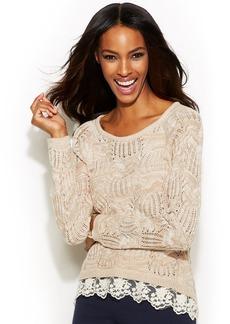 INC International Concepts Marled Lace Hem Sweater