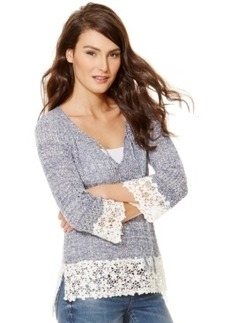 Inc International Concepts Marled Lace-Trim Sweater