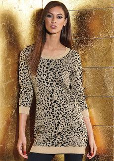 INC International Concepts Metallic Animal-Print Sweater