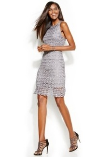 INC International Concepts Metallic Crochet Sheath Dress