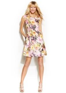 INC International Concepts Metallic Floral-Print A-Line Dress
