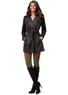 Inc International Concepts Mixed-Media Faux-Leather Belted Trench Coat, Only at Macy's