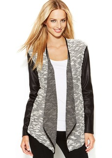 INC International Concepts Mixed-Media Faux-Leather Open-Front Cardigan