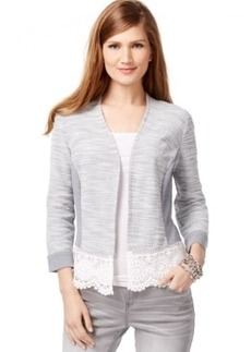 Inc International Concepts Mixed-Media Open-Front Cardigan, Only at Macy's