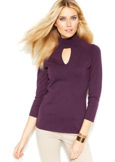 INC International Concepts Mock-Turtleneck Keyhole Sweater