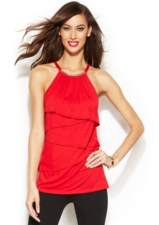 INC International Concepts Necklace-Detail Tiered Halter Top