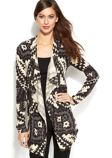 INC International Concepts Open-Front Metallic Printed Cardigan