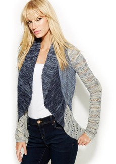 INC International Concepts Patchwork Pointelle Open-Front Cardigan